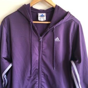 Adidas Athletic Jogger Jacket Purple Zip Hoodie M